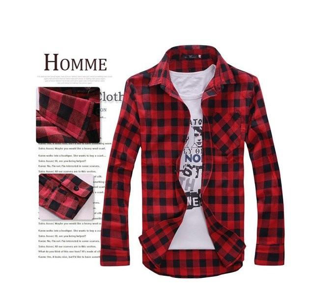 Рубашка с длинным рукавом в клетку красная код 68 фото №1