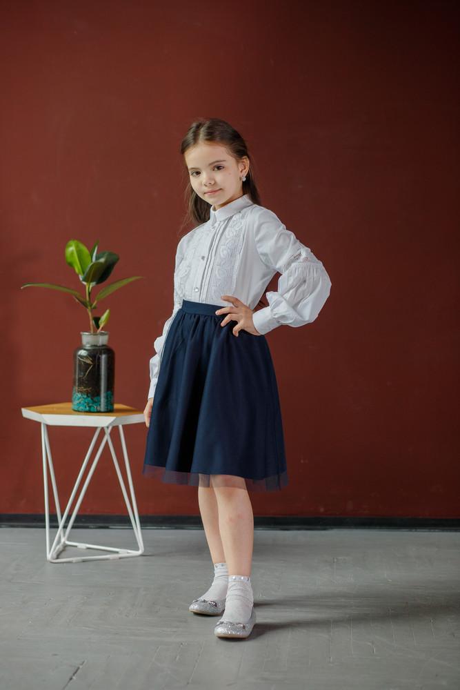 Блузка нарядная с кружевом 116-164 фото №1