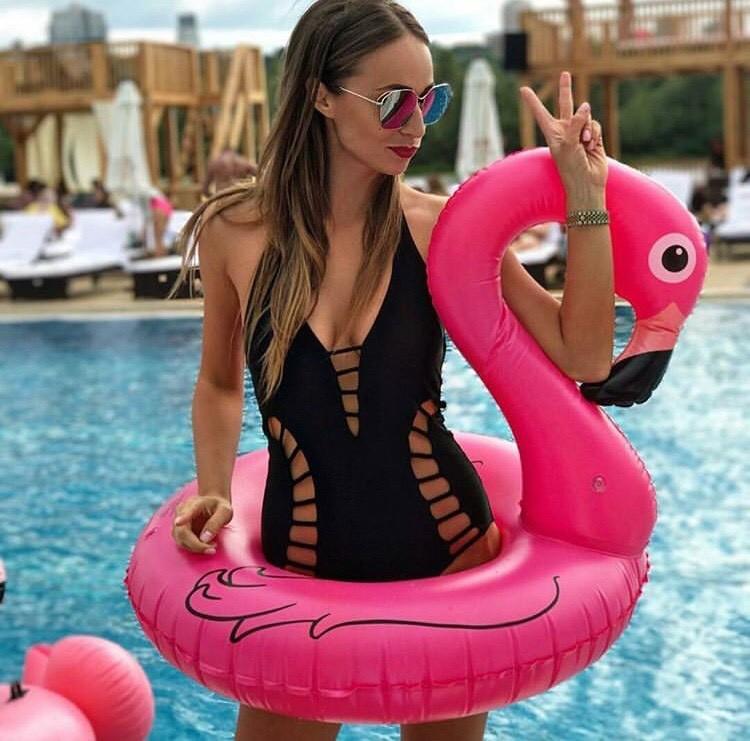 Надувной круг фламинго 90 см для детей , подростков и взрослых фото №1
