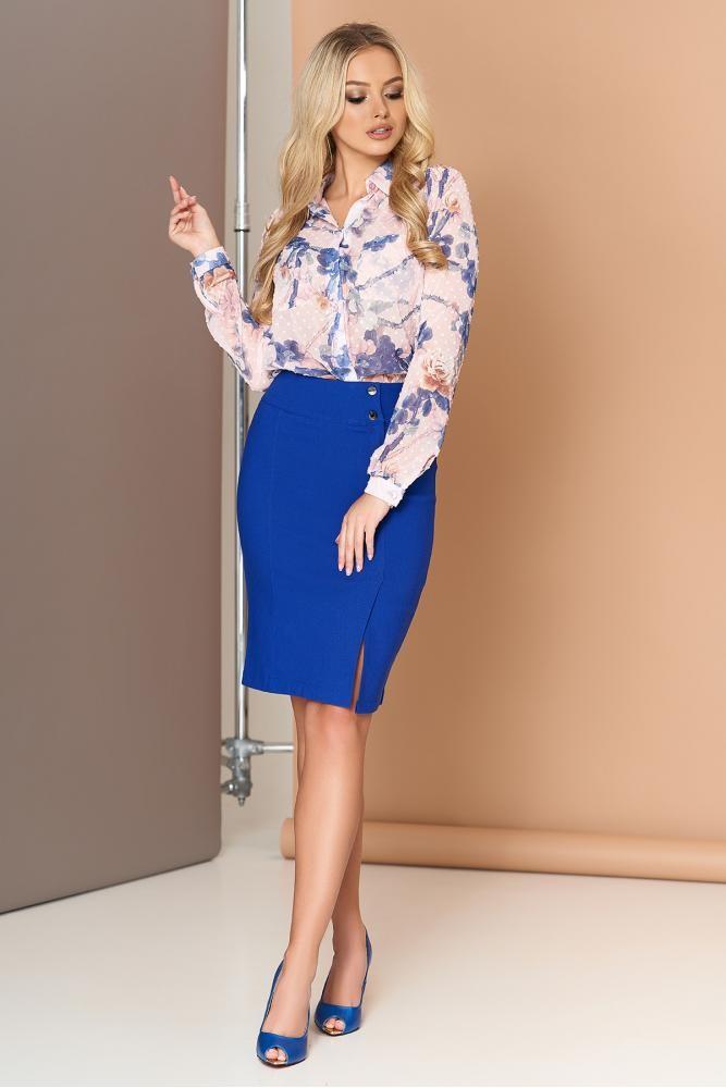 Стильная юбка цвета электрик 44-50 фото №1