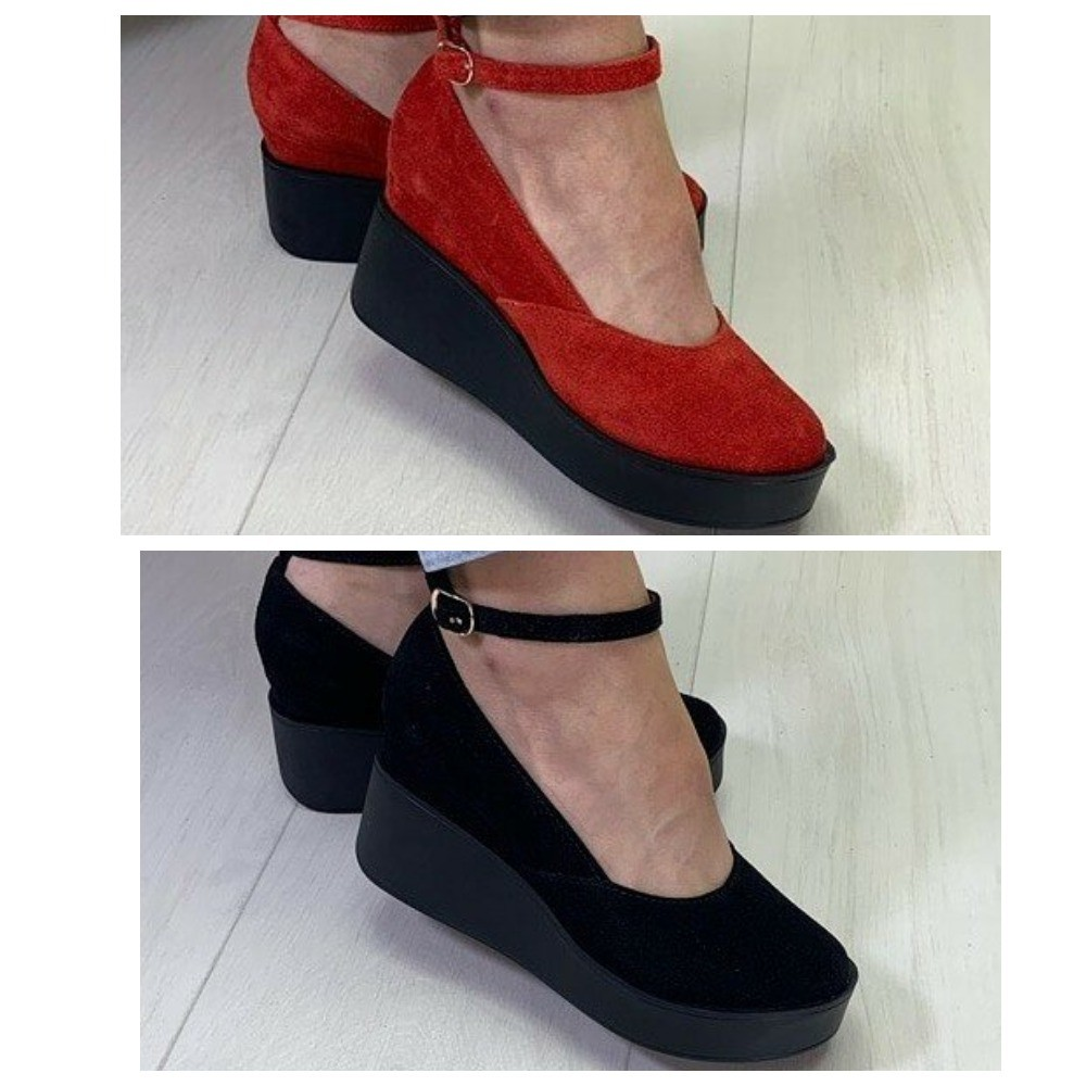 Замшевые туфли на танкетке фото №1