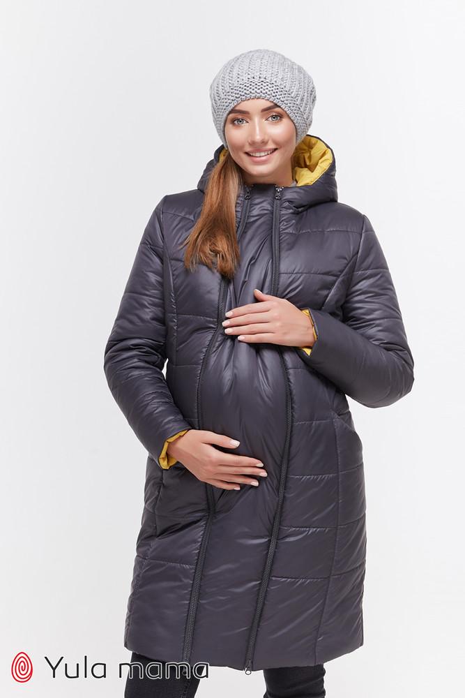 Зимнее пальто для беременных, графит фото №1