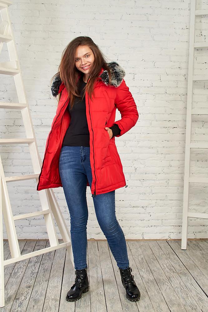 Теплая женская куртка на зиму, 27219 красный цвет фото №1