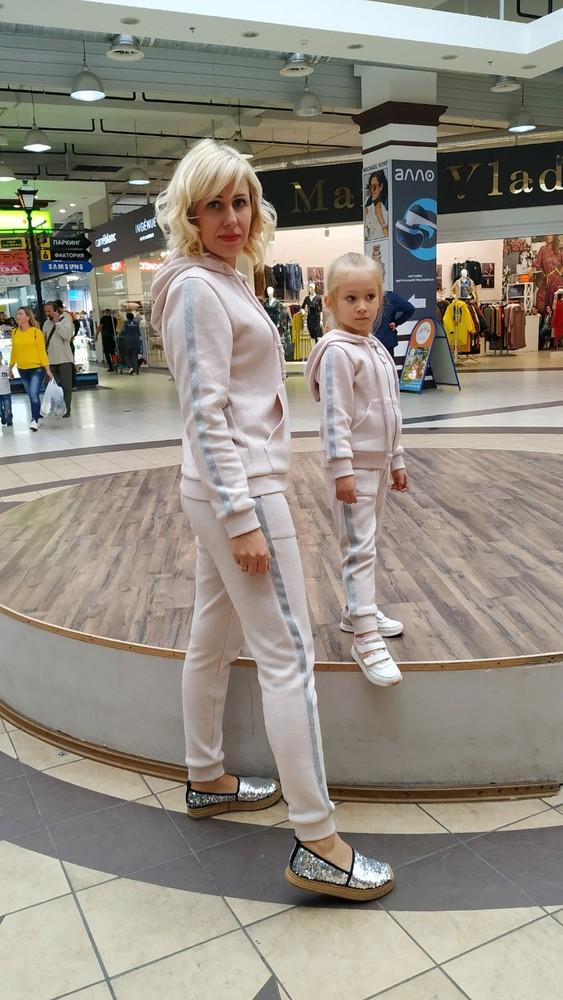 Тепленький костюмчик из двухсторонней ангоры с люрексом family look 2 варианта фото №1