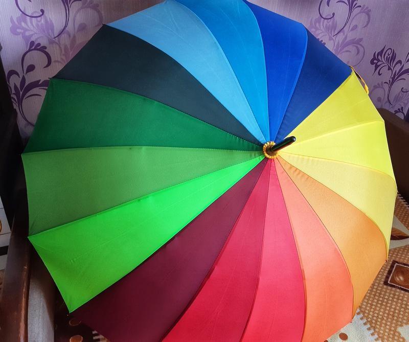 Топ качество! яркий женский зонт трость радуга спица карбон фото №1