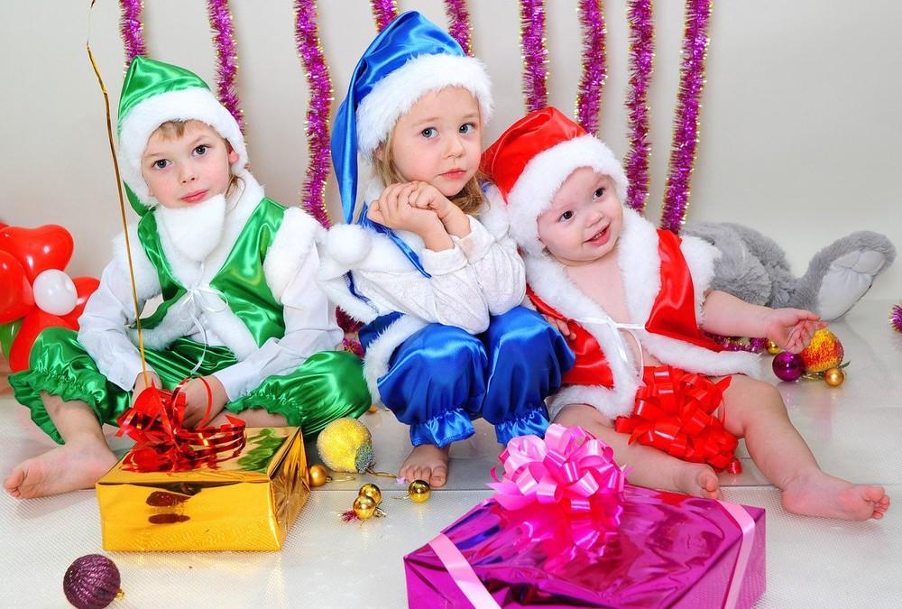 Детский новогодний костюм гномика синий, красный, возраст 3-7 лет фото №1