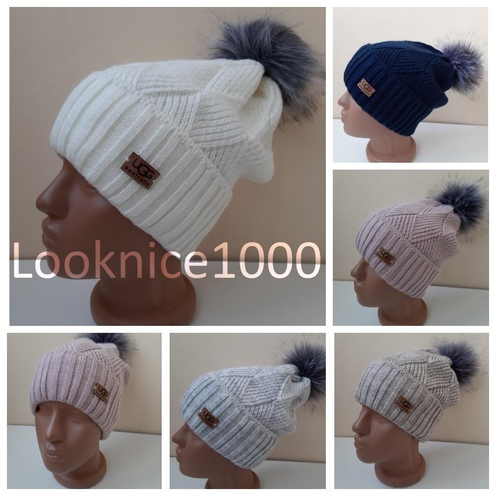 Шикарные шапочки вязка ugg australia зима цвета! фото №1