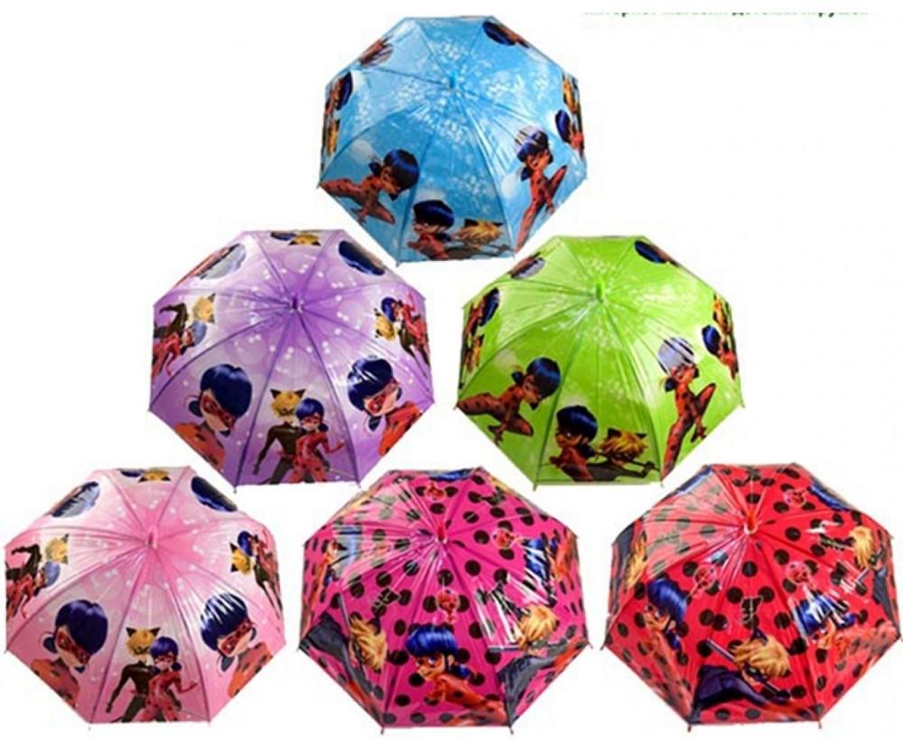 Яркий детский зонт трость для девочки леди баг фото №1