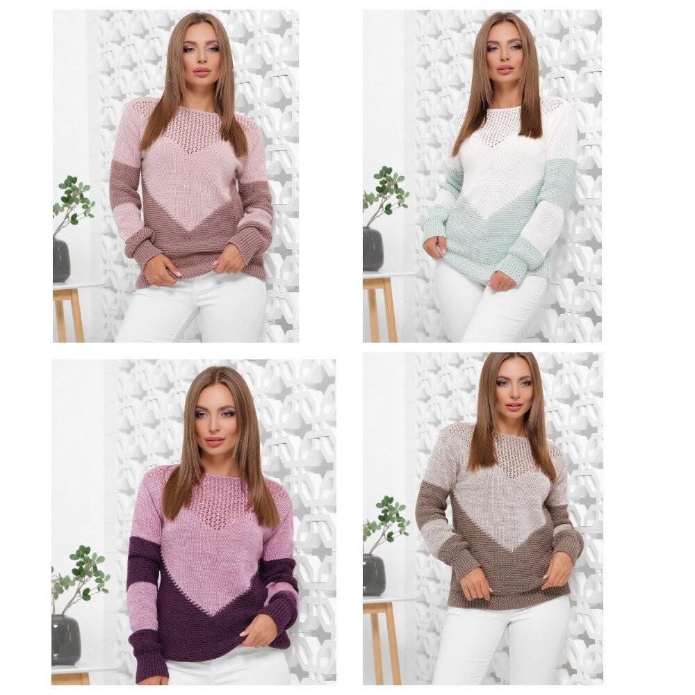Модный вязанный свитер-46-52 ///отправка сразу фото №1
