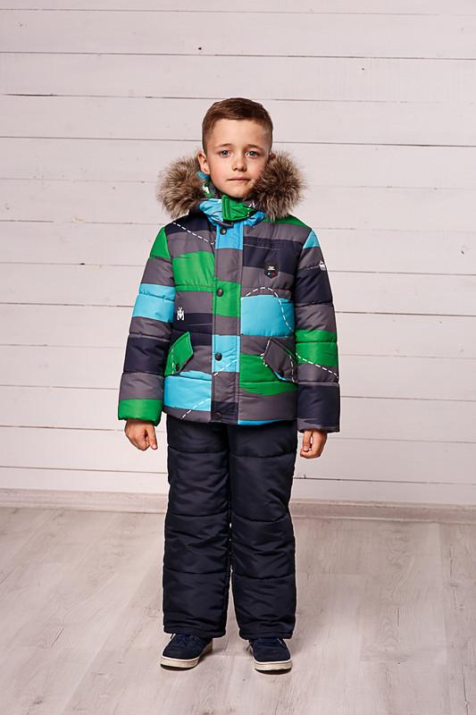 Зимний комплект для мальчика куртка и полукомбинезон фото №1