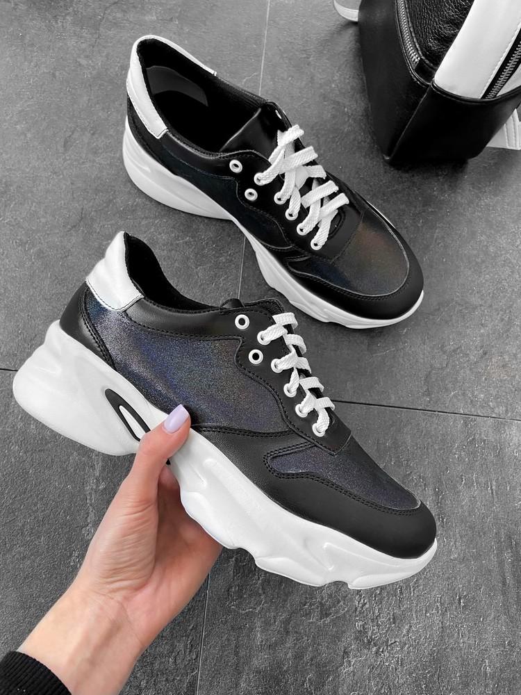 Синие кожаные кроссовки на платформе, кроссовки кожа фото №1