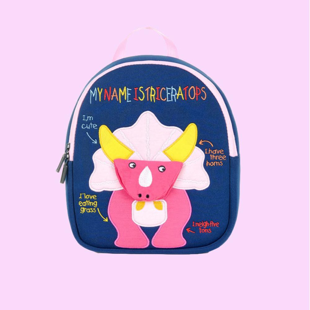 Детский рюкзак, синий. розовый трицератопс. (s) фото №1