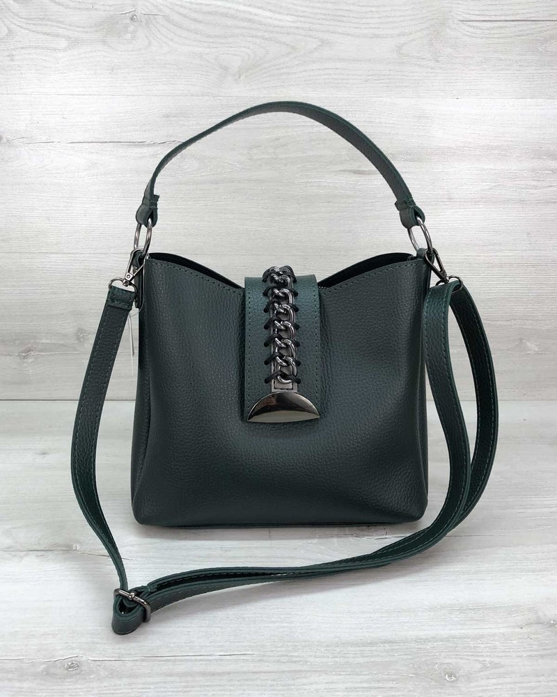 Зеленая молодежная сумка с длинной и коротко ручками фото №1
