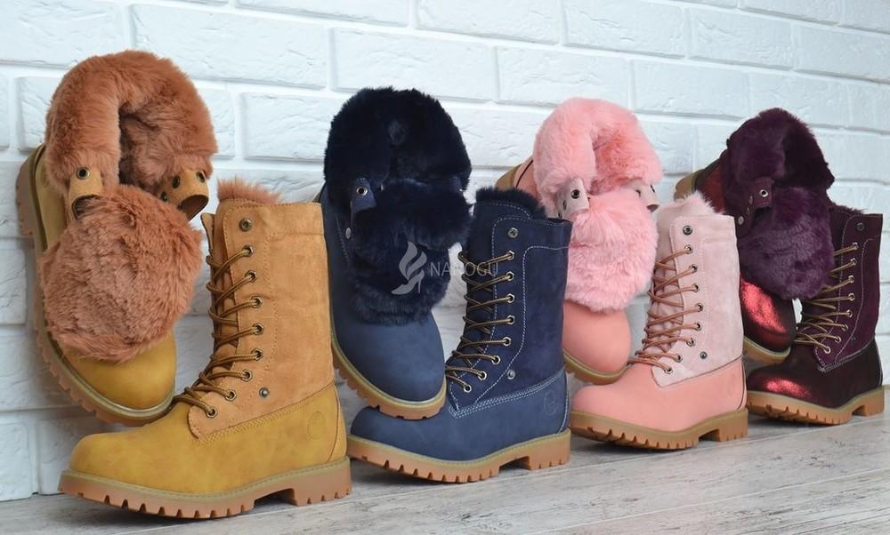 Ботинки детские waterproof натуральная опушка зимние на шнуровке сапоги женские на девочку фото №1