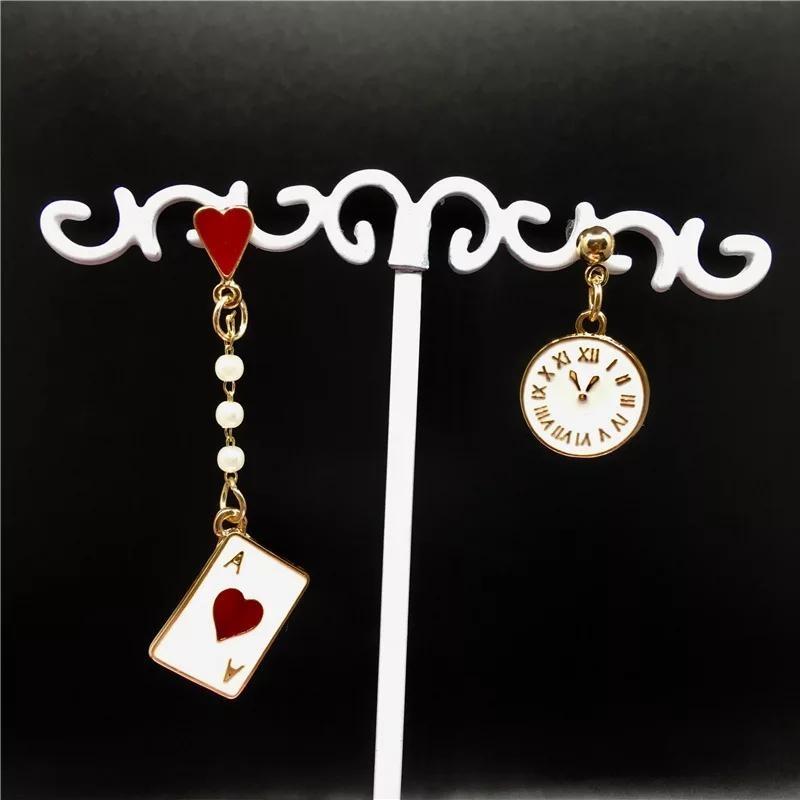 Асимметричные серьги червовый туз и часы бело-красного цвета фото №1