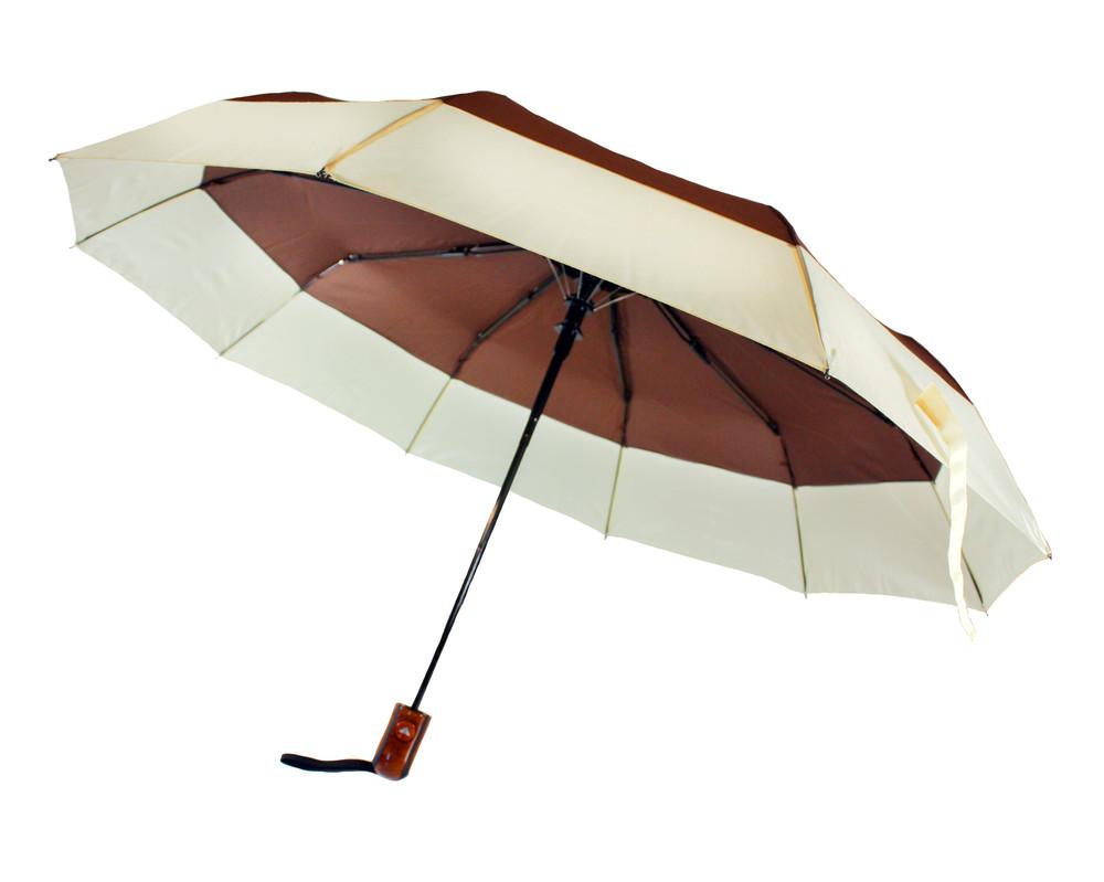 Зонт складной, полуавтомат, 10 спиц, коричневый фото №1