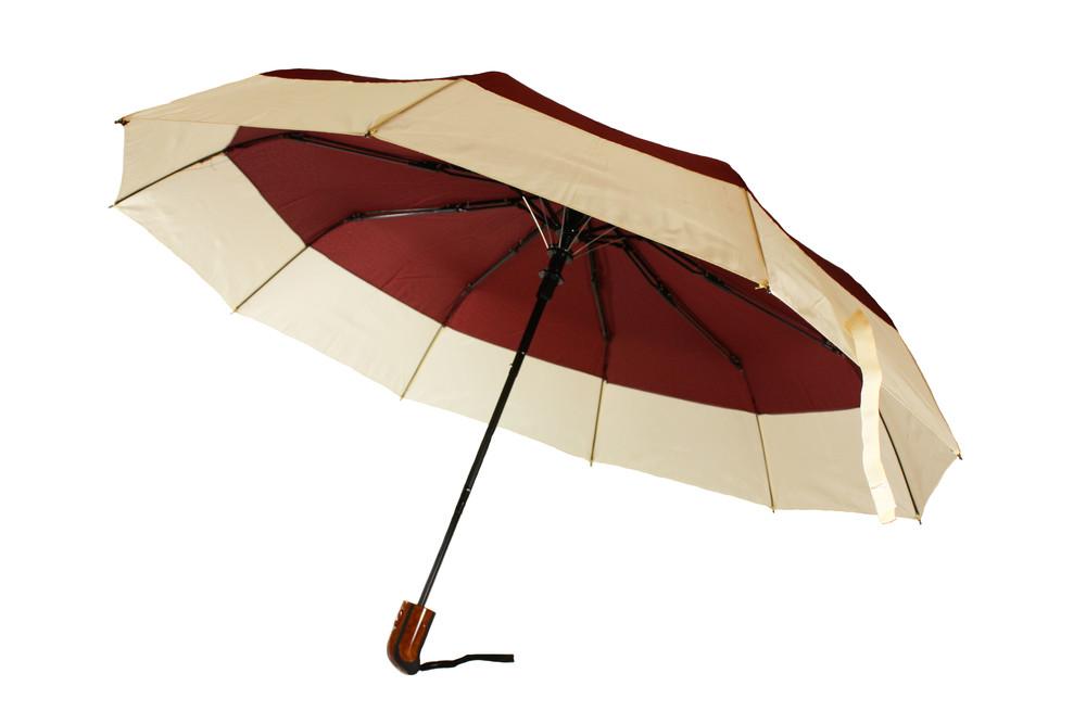 Зонт складной, полуавтомат, 10 спиц, бордовый фото №1