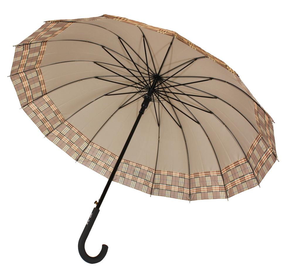 Зонт-трость, полуавтомат, 16 спиц, серый фото №1