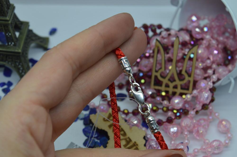 Серебряный #браслет #красная нить #червона нитка #меандр 3мм #унисекс #925 все размеры фото №1