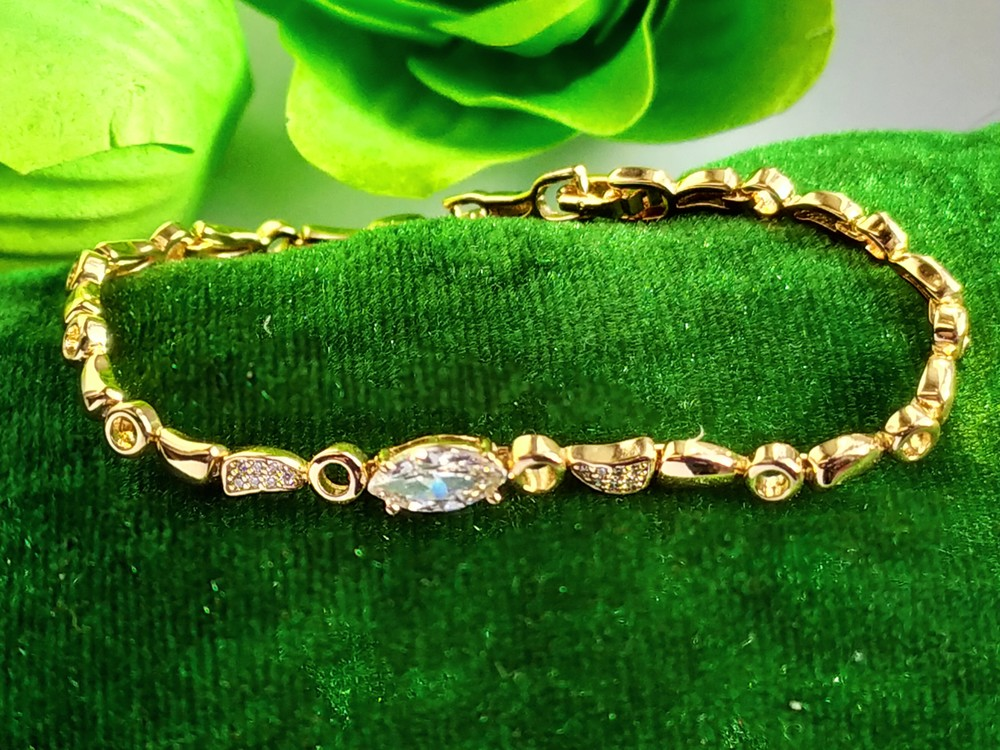 Позолоченный браслет с камнями - сияние, позолота, браслетик фото №1
