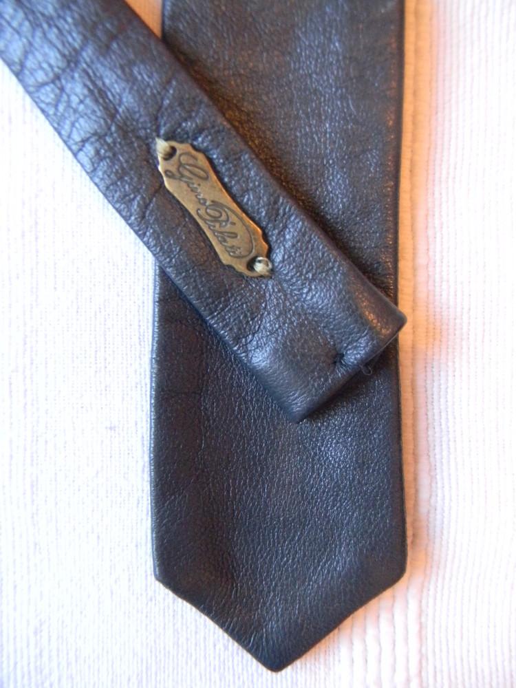 Gino pilati-черный узкий кожаный галстук фото №1