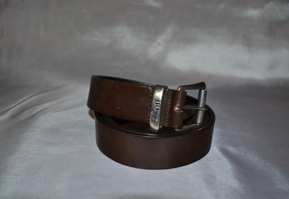Коричневый кожаный ремень hugo boss фото №1