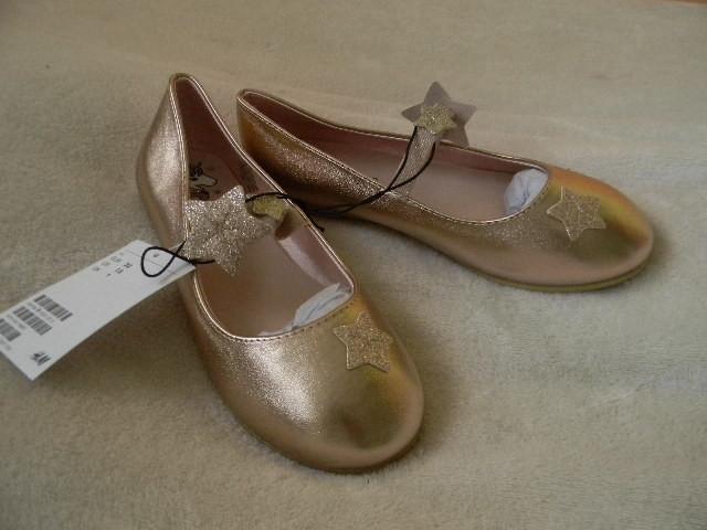 Золотистые балетки h&m р.33 фото №1