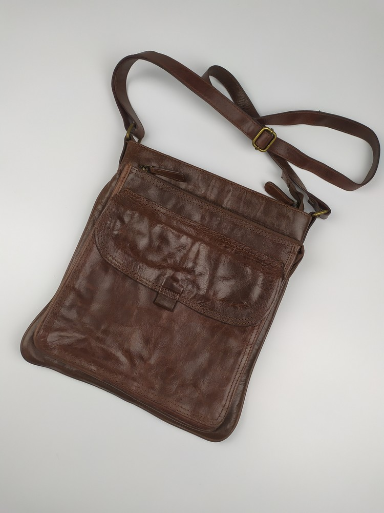 Кожаная сумка по типу fossil polo ralph lauren фото №1
