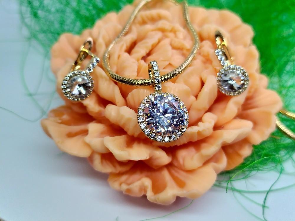 Позолоченные серьги с кулоном - королевская роскошь, позолота фото №1