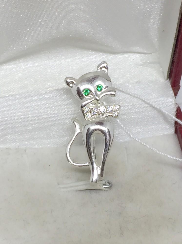 Новая серебряная брошь булавка кошечка серебро 925 пробы фото №1