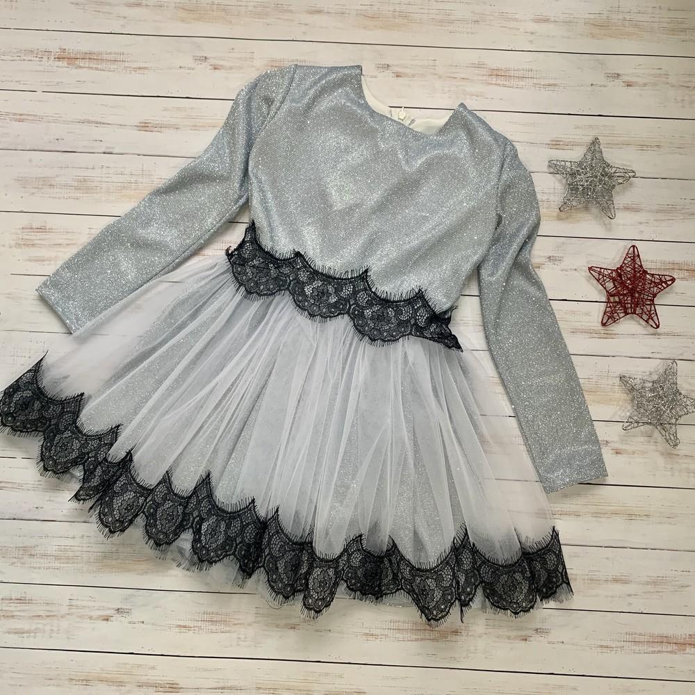 Серебристое праздничное детское платье люрекс фото №1