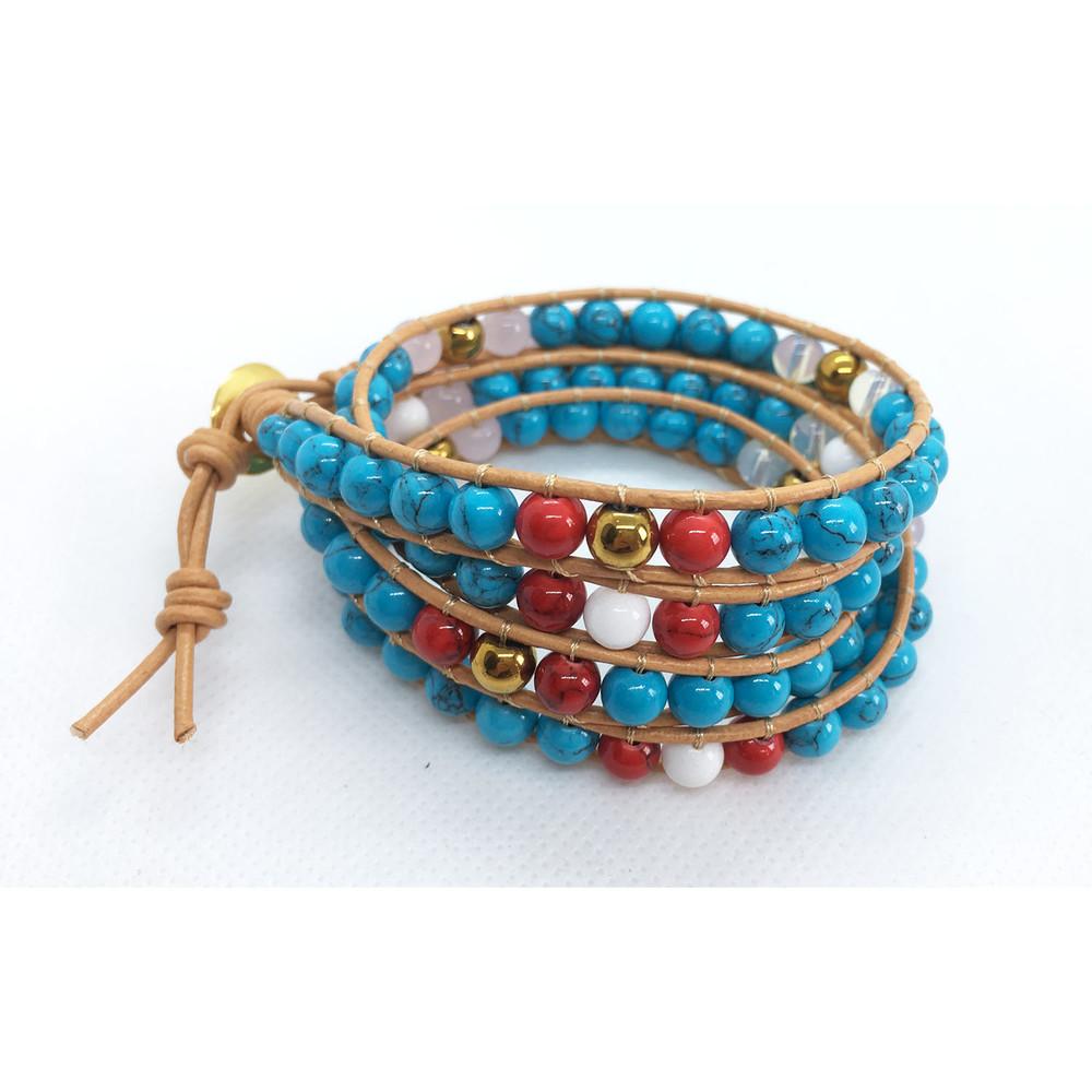 Кожаный браслет в стиле chan luu с натуральной бирюзой фото №1