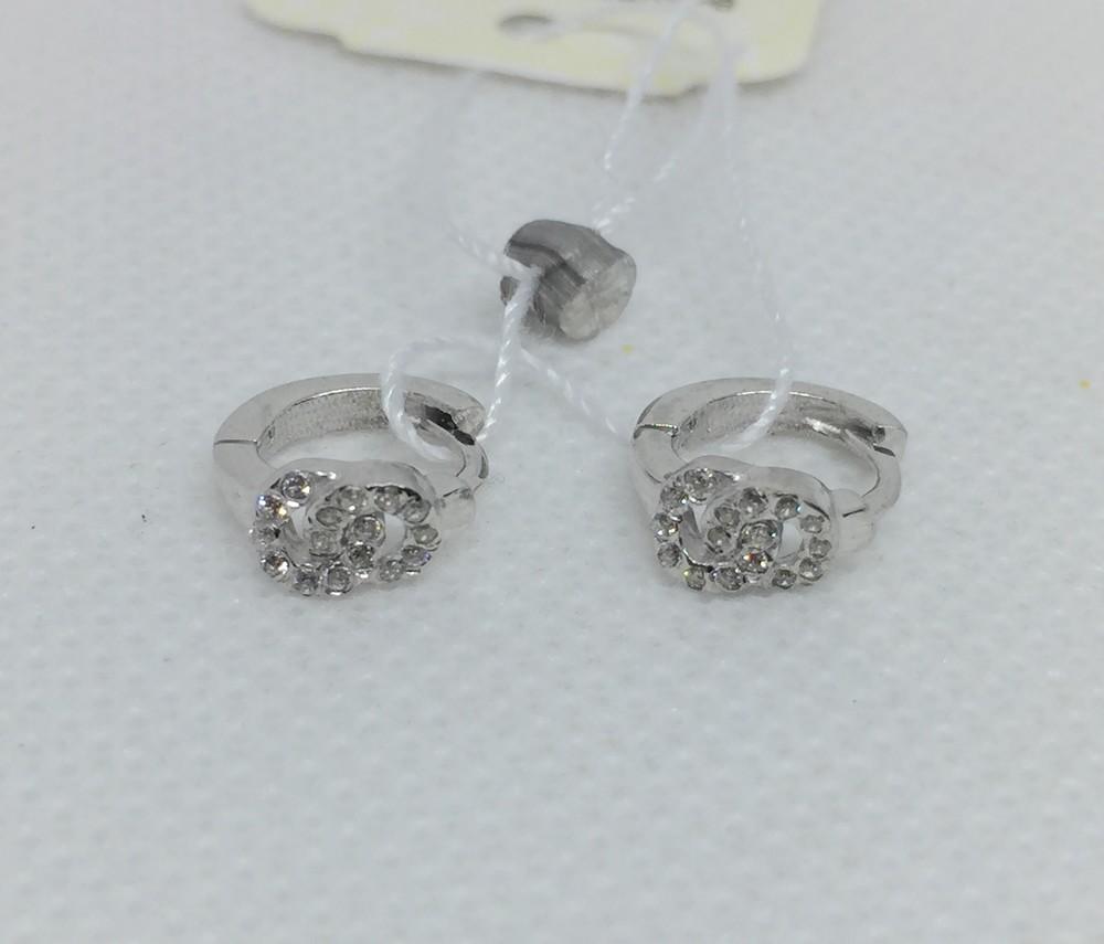 Новые красивые родированые серебряные серьги куб.цирконий серебро 925 пробы фото №1