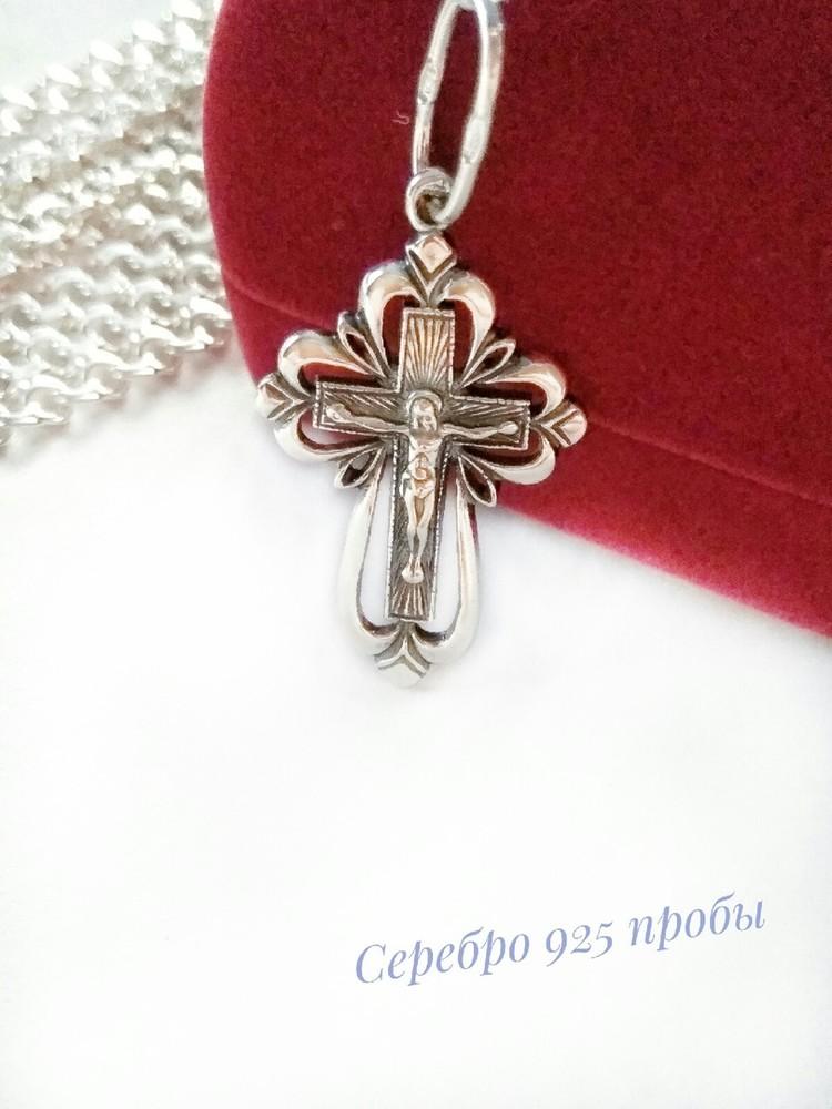 Серебряный крестик, подвеска, серебро 925 пробы фото №1