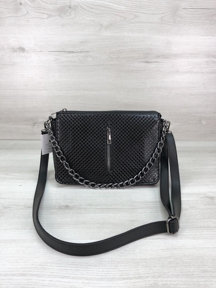 Женская сумочка кросс-боди черного цвета с разными вставками фото №1