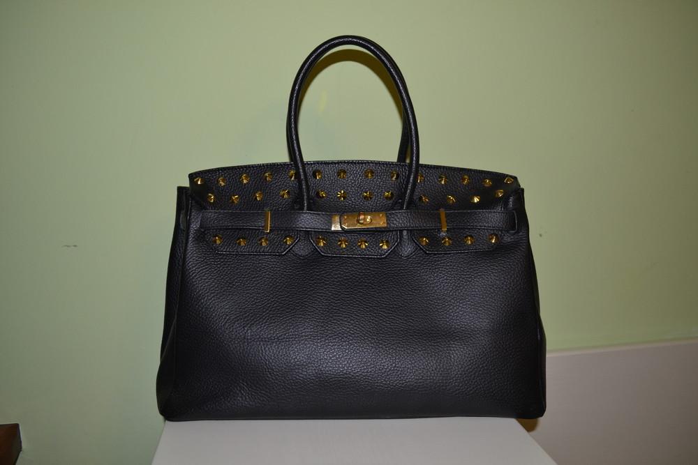Объемная кожаная сумка borse in pelle. сделана а италии. в стиле hermes birkin. фото №1