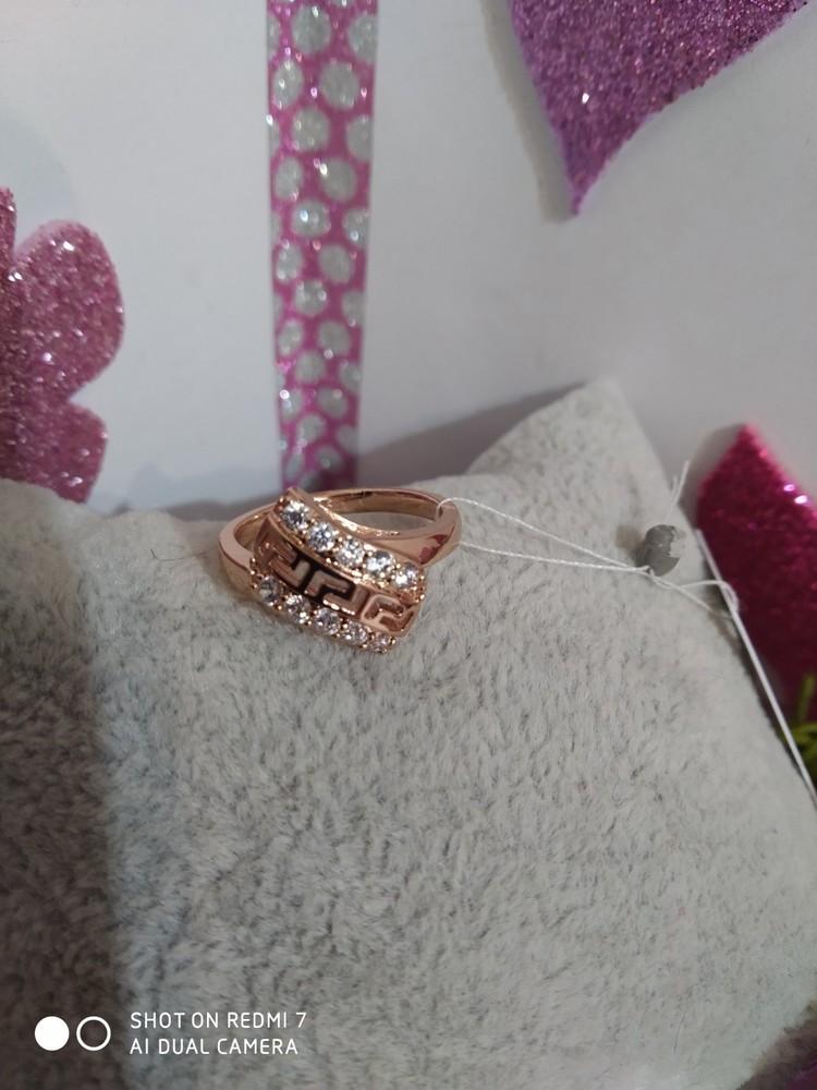 Прекрасное кольцо с фианитами. медзолото позолота 585. медицинское золото. фото №1