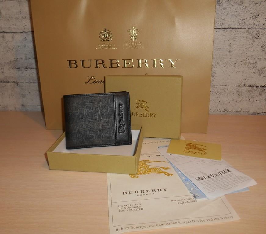 Мужской кошелек, портмоне, бумажник burberry, кожа, италия фото №1