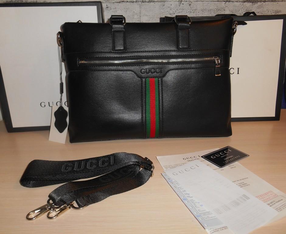 Сумка мужская портфель а4 gucci, кожа, италия фото №1