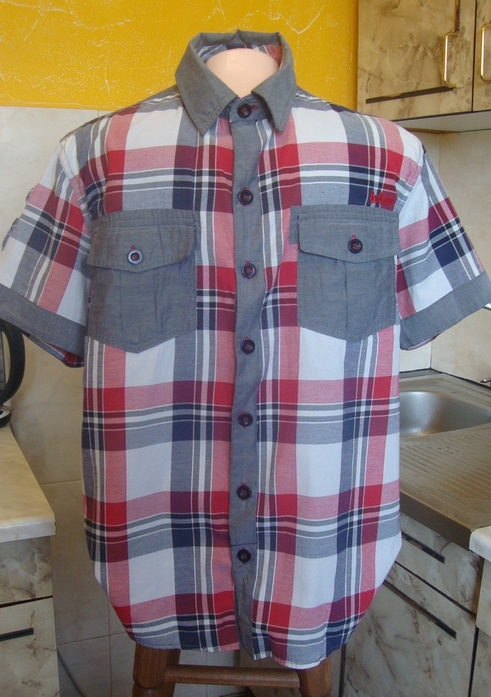 Рубашка красно-серая lee cooper m 50%котон, 50%полиэстер фото №1