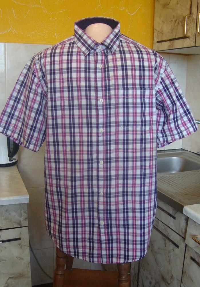 Рубашка сиренево-фиолетово-белая aspen & court m 100%котон фото №1