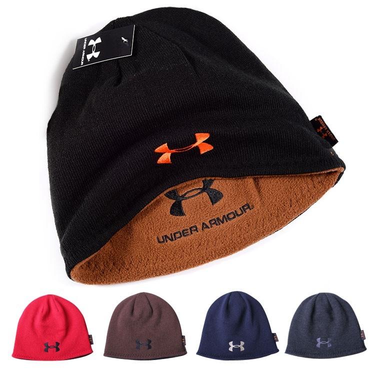 Шапка шапка-бини шапки under armour двухсторонняя черная синяя серая фото №1