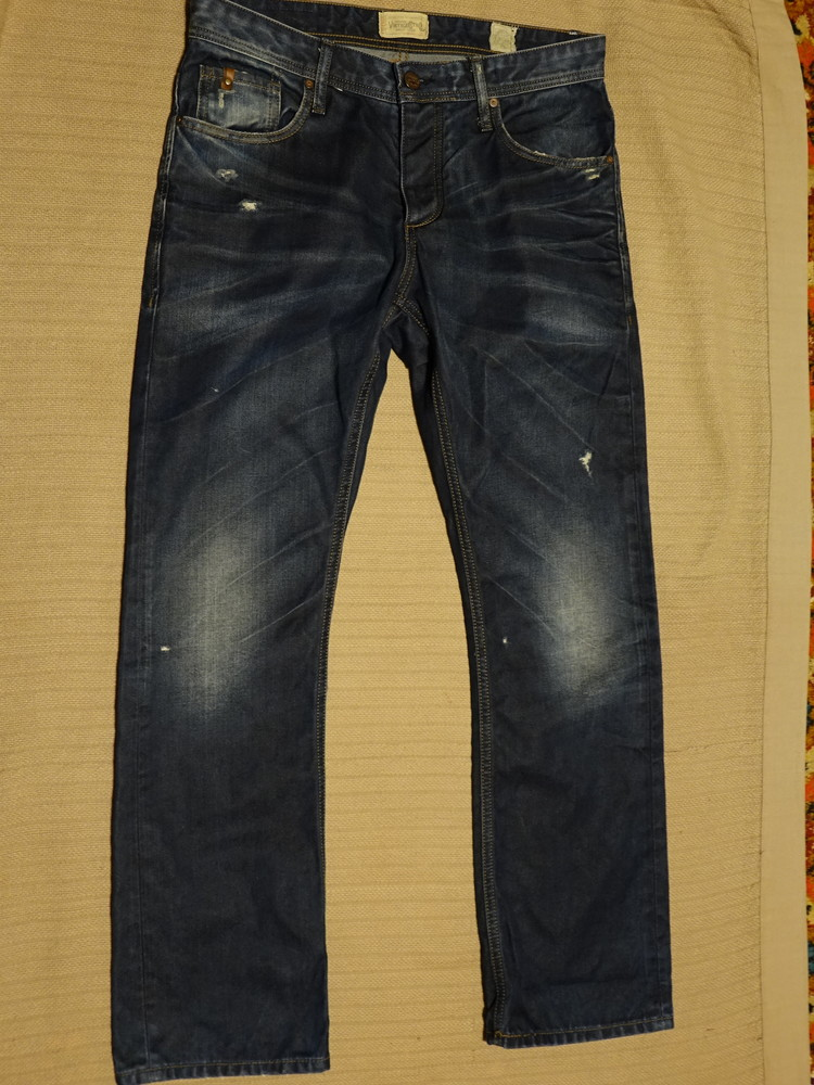 Винтажные фирменные темно-синие джинсы с потертостями jack & jones дания 32/32 фото №1