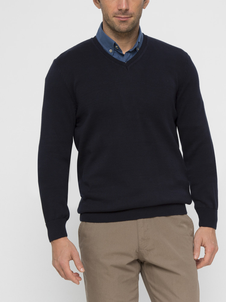 Темно-синий мужской свитер lc waikiki / лс вайкики с v-образным вырезом фото №1