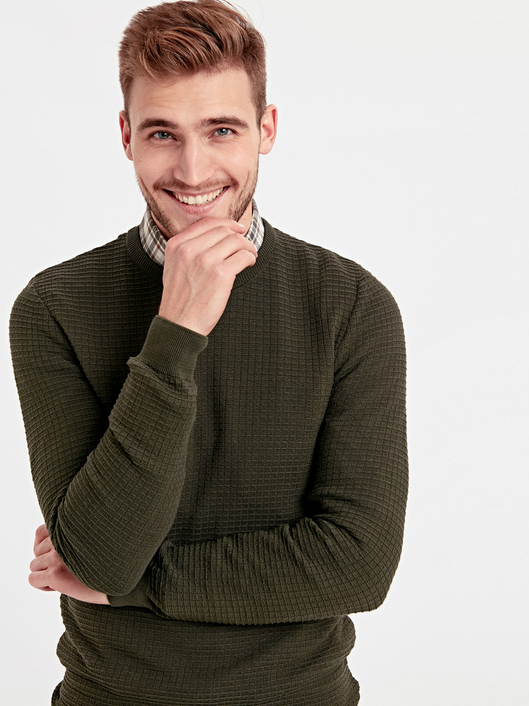 Мужской свитер lc waikiki / лс вайкики цвета хаки с фактурным рисунком фото №1