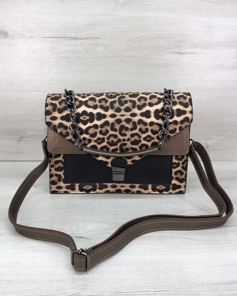 Леопардовая сумка портфельчик через плечо фото №1