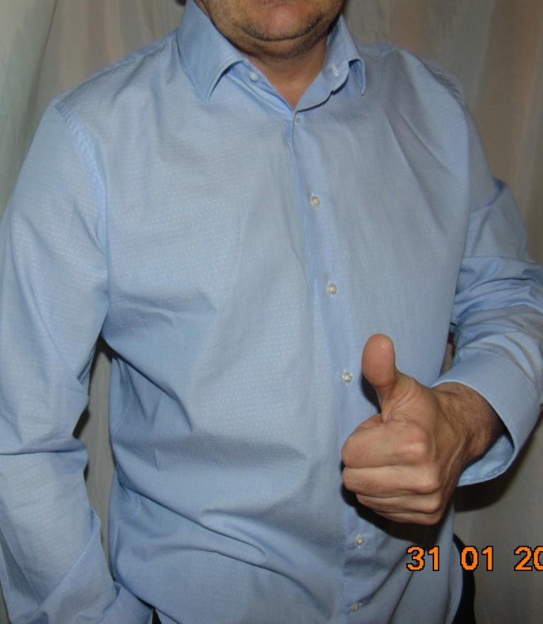 Стильная нарядная деловая фирменная рубашка сорочка бренд daniel hather.л-хл 43 . фото №1