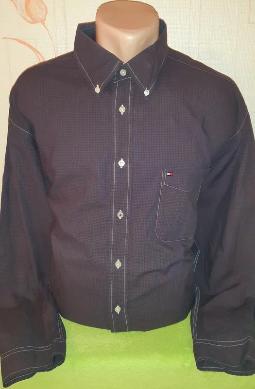 Фиолетовая рубашка в клетку tommy hilfiger, made in mauritius фото №1