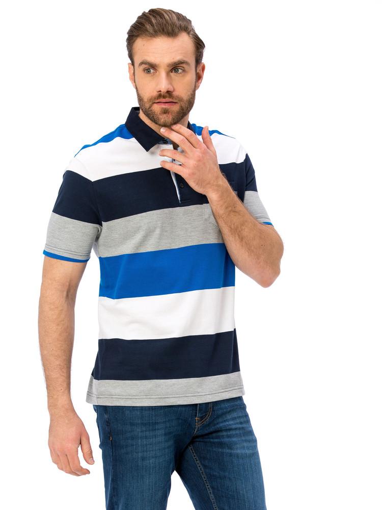 Мужское поло lc waikiki / лс вайкики в синюю полоску, с карманом на груди фото №1
