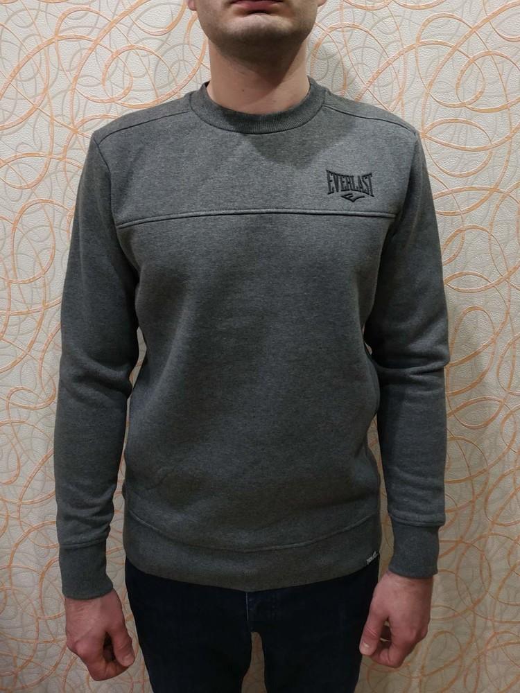 Теплый мужской свитер свитшот с флисовым начесом everlast еверласт оригинал фото №1